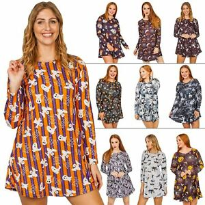Womens Halloween Tunic Dress Witch Bats Grey Prints Swing Ladies Evening Party