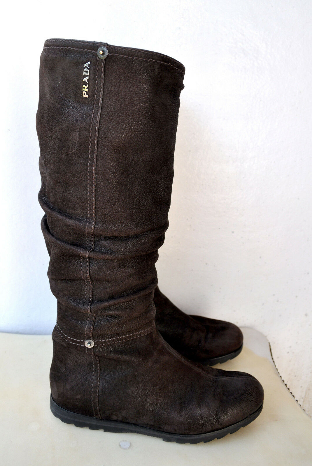 PRADA braun Premium Leather Knee-High Stiefel Sz 37 Authentic Rare Sold Out