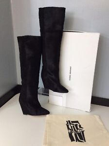 c800774b8de Isabel Marant NEW Shelia Black Pony   Suede Knee Boots Wedge Size 35 ...