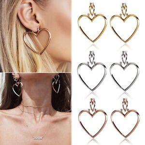 Fashion-1Pair-Heart-Shape-Hoop-Dangle-Earrings-Women-Jewelry-Ear-Drops-Studs-New