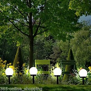 Image Is Loading Modern Large Solar Powered White Globe Ball Garden