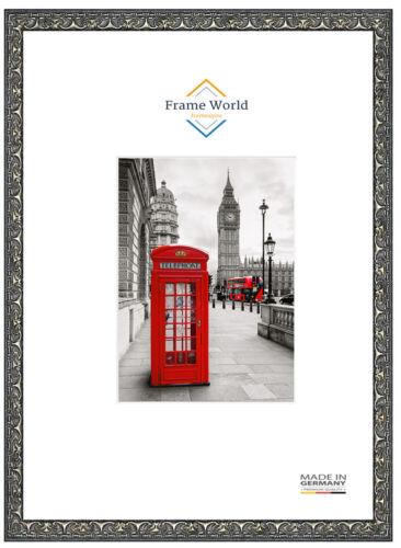 Fw30 Bois Véritable Cadre Photo en noir argent baroque Puzzle Poster Cadre DIN