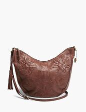 NWT $188 LUCKY BRAND Leather Floral Hobo walnut bag