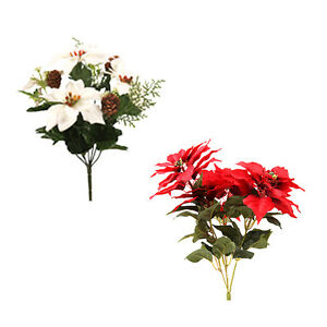 Details about artificial silk poinsettia bush choose colour redwhite christmas flowers image is loading artificial silk poinsettia bush choose colour red white mightylinksfo