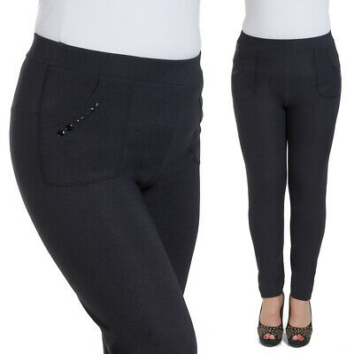 Ladies Plus Size Black Pants Pockets Elegant Stretchy Slim Fit Trousers W18-018