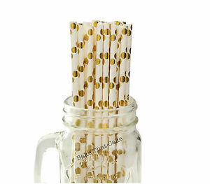 25-x-Polka-Dot-Gold-Foil-White-Paper-Drinking-Straws-Wedding-Party-Drink-Straw