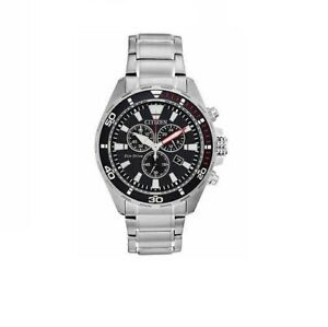 Citizen Eco Drive Mens Chronograph Stainless Steel Watch AT2438-53E NIB