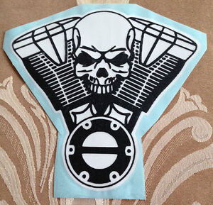V Twin Engine Skull Decal Sticker Harley Indian Honda