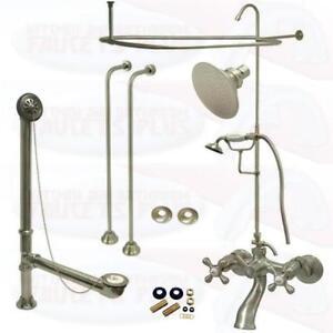 Satin Brushed Nickel Clawfoot Tub Faucet Kit W Shower Riser
