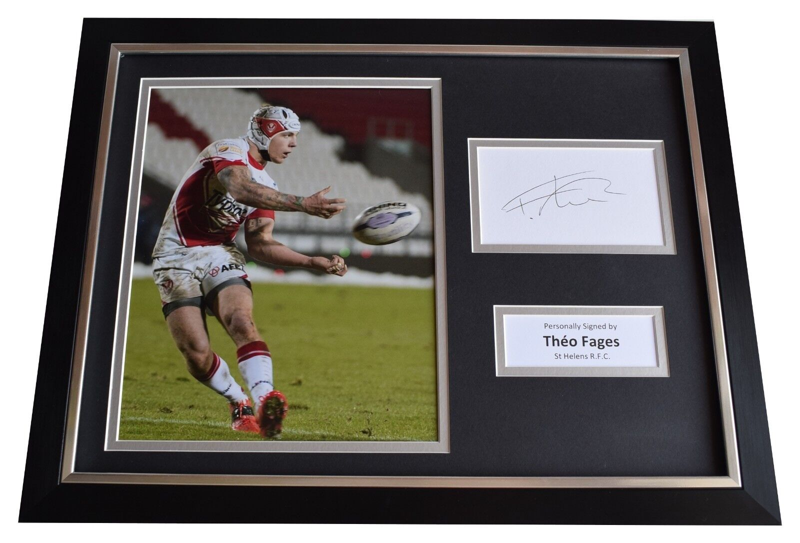Theo Fages SIGNED FRAMED Photo Autograph 16x12 display St Helens Rugby League