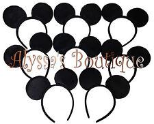 20 pc Mickey Mouse Ears All Black Plush Headbands Birthday Favors Minnie Costume