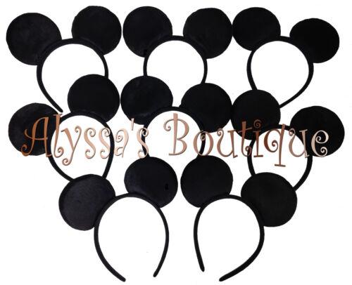 *SPECIAL 12pc Mickey Mouse Ears All Black Plush Headband Birthday Favors Minnie