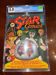 All Star Comics #8 CGC 5.0 DC 1941 1st Wonder Woman! Holy Grail! CVA! M6 373 cm