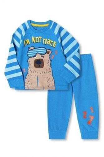 Brand New Ex-Disney  Store Blue I/'m Not Tired Bear Print Long Sleeve Pyjamas Boy