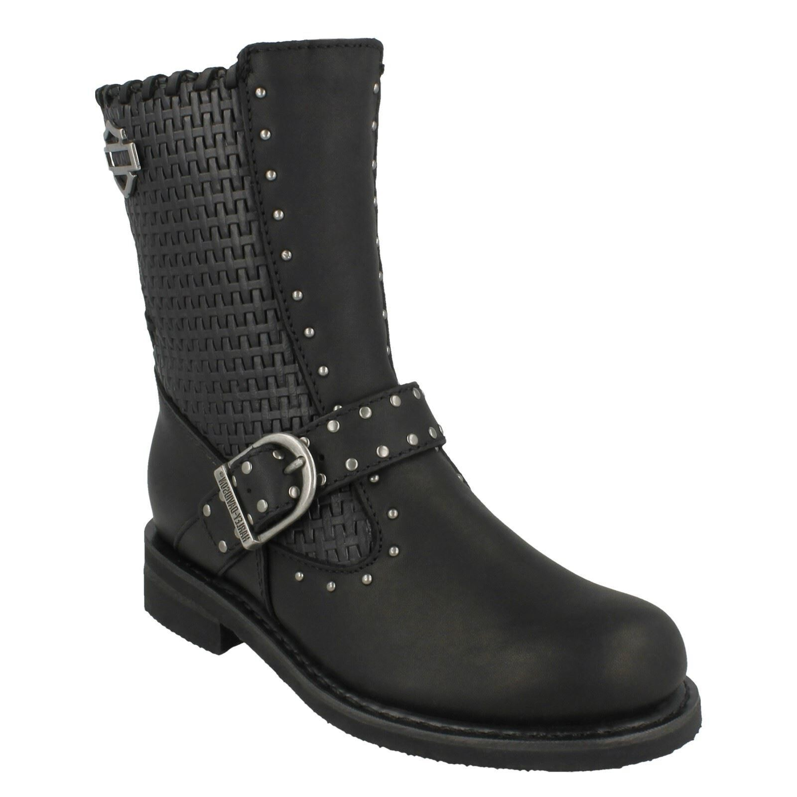 LADIES HARLEY DAVIDSON ABBIE negro ZIP LEATHER STUDDED CASUAL BIKER botas D87017