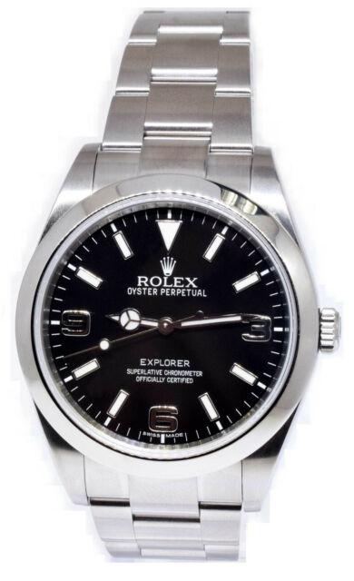 Rolex Explorer Stainless Steel Black Dial Mens 39mm Watch / Box 214270