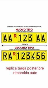 Targa-ripetitrice-REPLICA-alluminio-giallo-con-lettere-rimorchio-carrello-traino