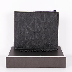 952fbc766e4f Details about NWT Michael Kors Jet Set Mens Signature Billfold Wallet in  Gift Box