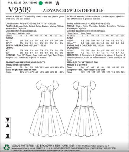 VOGUE VTG INSPIRED CLAIRE SHAEFFER/'S CUSTOM COUTURE DRESS PATTERN V9309 SZ 6-22