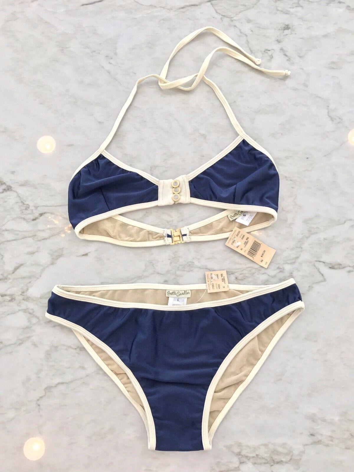 7ce9d12510c NWT 320 BRETTE SANDLER NAVY IVORY WHITE TRIANGLE BIKINI SIZE S blueE  pfukzl6661-Swimwear