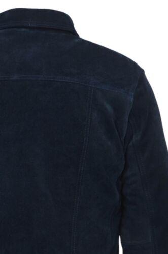 TRUCKER Men/'s Jacket Genuine Blue Suede Leather Classic Western Stylish Shirt