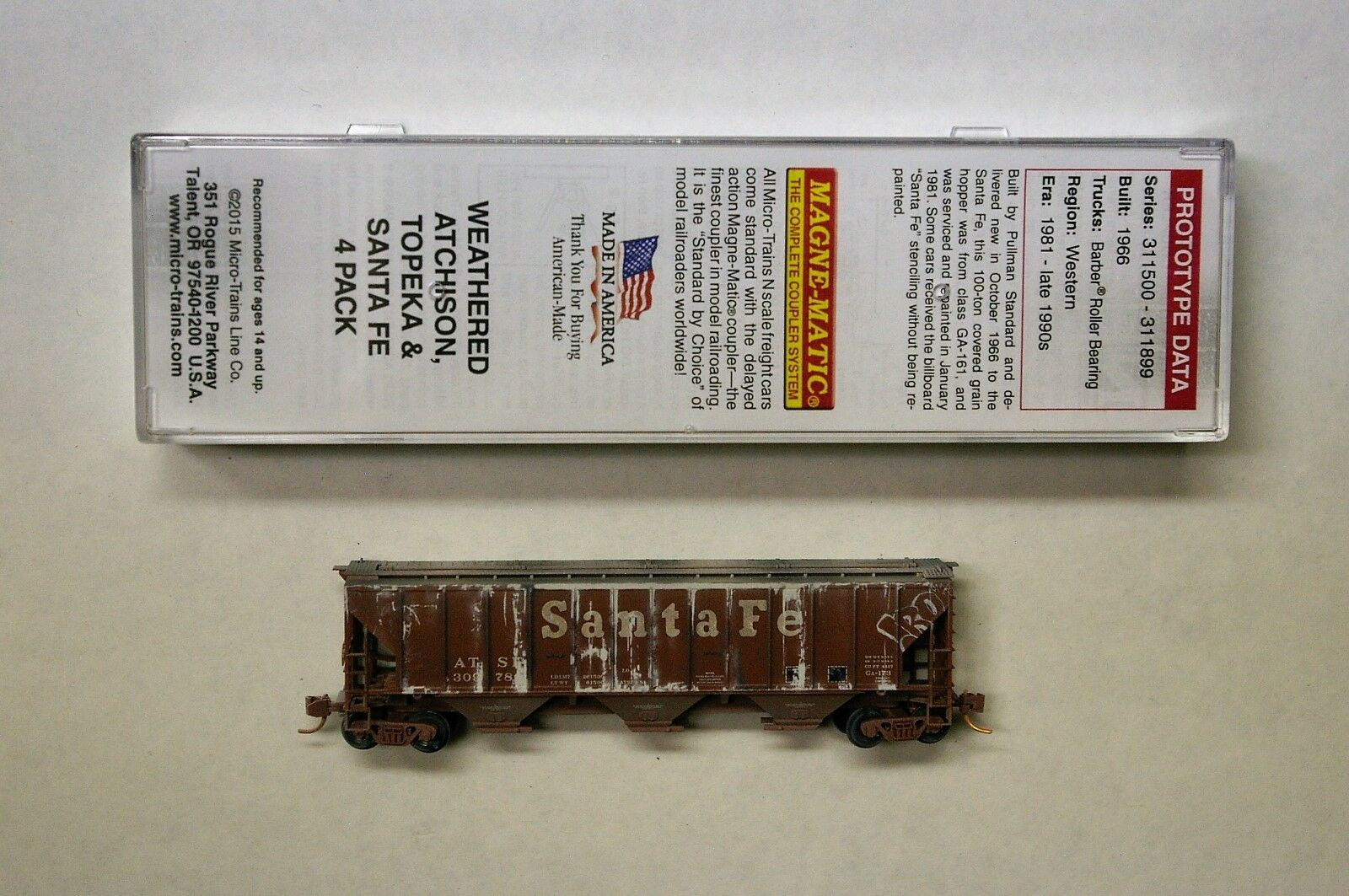 MTL Micro-Trains 96140 ATSF 30876, 311508, 311591 or 312375  FW Fac Weathered