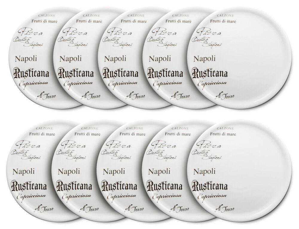 10er Set CreaTable - EUROPA GUSTOSO - Pizzateller 30,5 cm aus Porzellan mit Schr