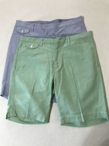 LOT-OF-2-Polo-Ralph-Lauren-34-x-9-034-Blue-Mint-Flat-Front-5-Pocket-Chino-Shorts
