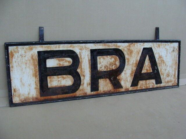 Vintage Sign Railway Station OLD SIGN Bra trains locomotives HO
