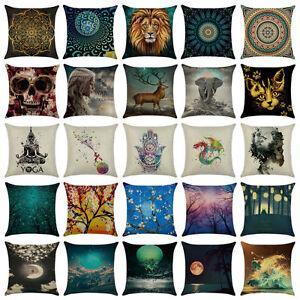Art-Cotton-Linen-Pillow-Case-Throw-Cushion-Cover-Home-Decor-18x18