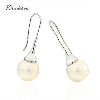 Womens Girls 18K White Gold Filled Shell Pearl Drop Dangle Hook Earrings Fashion