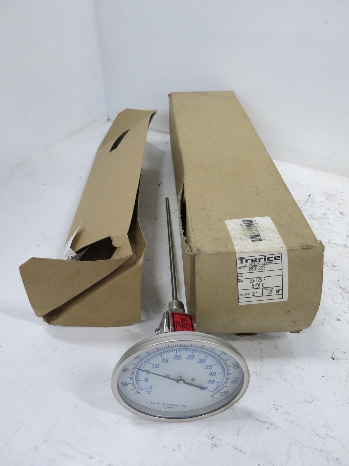 NEW Trerice B8561203 Thermometer 25 125 F -5 50 C 5  Bi-Metal 12  Stem 1 2  NPT