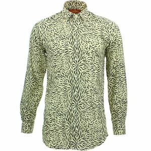 Mens Shirt Loud Originals TAILORED FIT Floral Yellow Retro Psychedelic Fancy