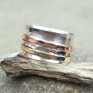 Solid-925-Sterling-Silver-Spinner-Ring-Meditation-ring-statement-ring-Size-sr260