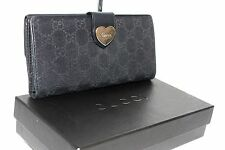 Auth GUCCI Heart Logo GG Pattern Bifold Flap Black Long Wallet Italy 203550-3661