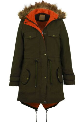 Ladies Olive Faux Fur Hooded Parka Jacket Women's PVC Contrast Quilted Coat