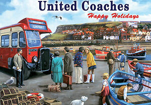 United Coaches Whitby Harbour Seaside Holiday Old Large Metal Tin Sign Picture
