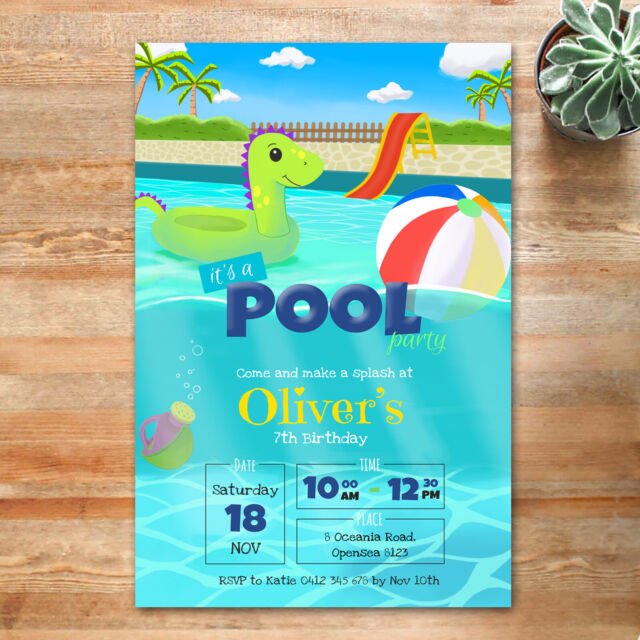 Pool Party Dino Personalised Birthday Party Invitation-Invite-You Print