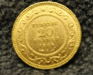 1904-A-Tunisia-20-francs-gold-coin-French-Colonial-Tunisie-UNCIRCULATED