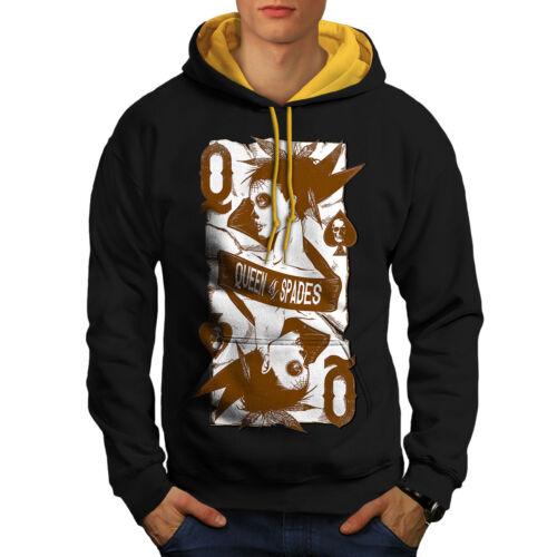 New Hoodie gold Of Contrast Men Casino Spades Black Hood Queen vYX6Sw