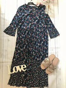 M&S 8 12 14 18 Navy midi boho floral button tassel floaty summer holiday NEW