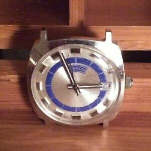 Mens-Vintage-Benrus-Silver-Tone-Bezel-Manual-Wind-Watch-with-Calendar-working