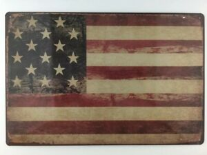 Patriotic-Vintage-American-Flag-Sign-8-x-12-034-Tin-Sign-USA-Patriotic-Home-Decor