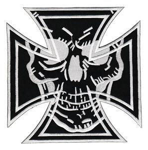 23-Kreuz-Biker-Totenkopf-Backpatch-Rueckenaufnaeher-Aufnaeher-MC-Kutte-18-x-18-cm