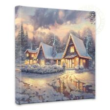 "Thomas Kinkade Wrap - Christmas Lodge  – 14"" x 14"" Gallery Wrapped Canvas"