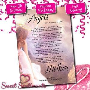 Détails Sur Personnalisé Poème Pour Maman Angel Keepsake A4 Brillant Imprimé Fête Mères Anniversaire Afficher Le Titre Dorigine