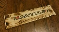 SOLID WOODEN VW SIGN, WALL PLAQUE - IDEAL GIFT, Rustic Volkswagen sign FREEPOST