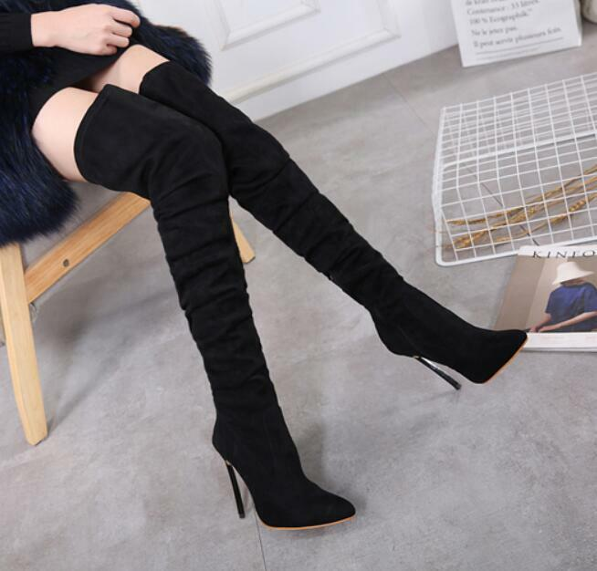 Womens Thigh High Boots Suede Pull On Slim Warm shoes Pointed Toe Stilettos V158