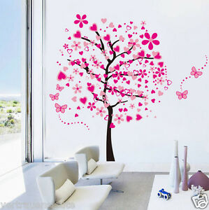 Wandtattoo-XXXL-Bild-Wandsticker-Wanddesign-Wandaufkleber-Herz-Baum-Liebe-Pink