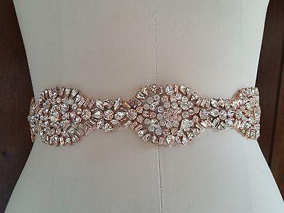 LIGHT ROSE GOLD CRYSTAL Wedding Bridal Sash Belt = Light Rose Gold Crystal Belt